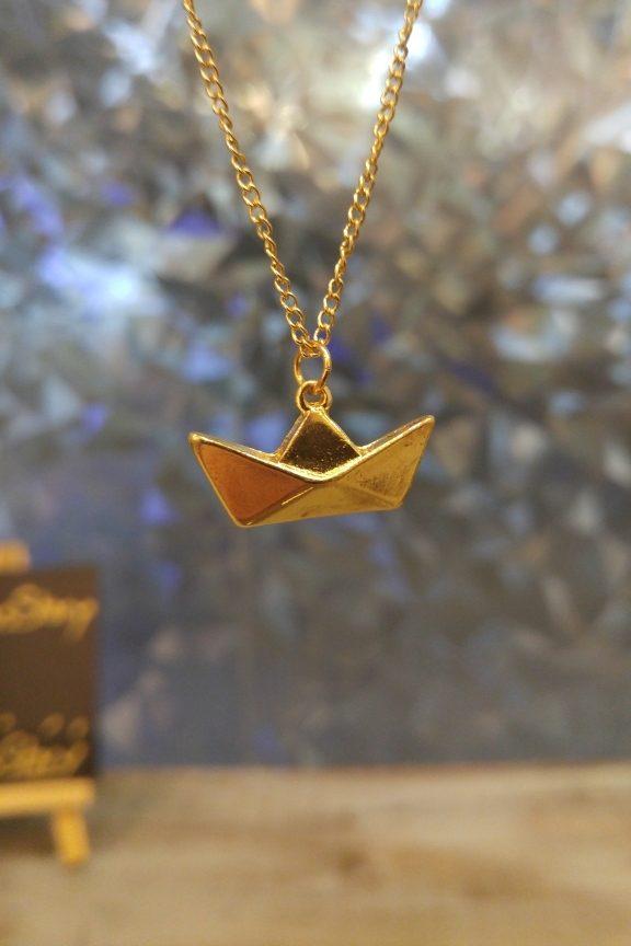 κολιέ-origami-βάρκα-χρυσό