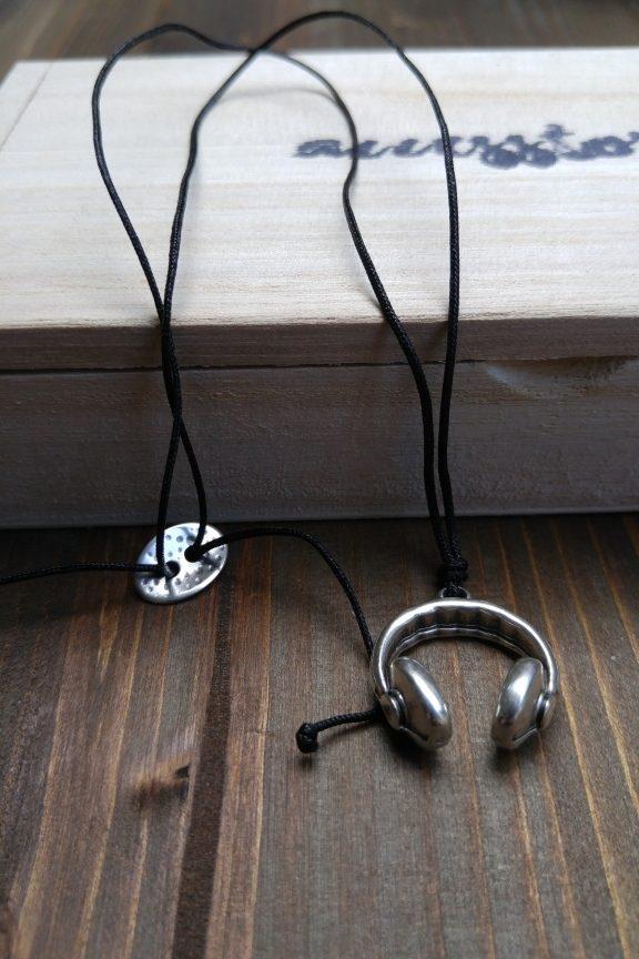 κολιέ-ανδρικό-ακουστικά-ασημί