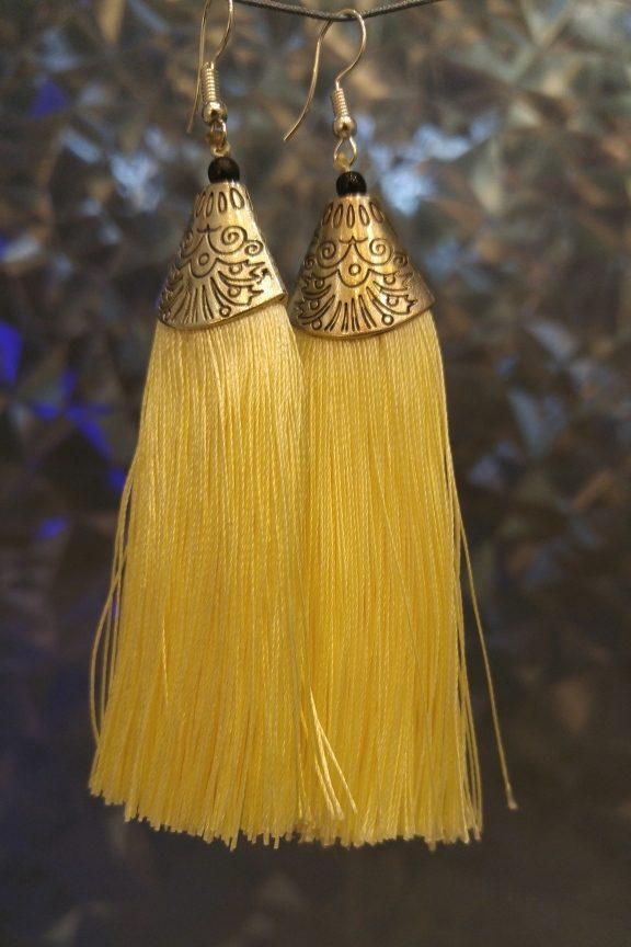 σκουλαρίκια-κρόσσια-κίτρινα