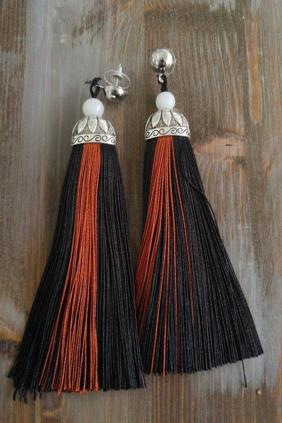 σκουλαρίκια-κρόσσια-μαύρα
