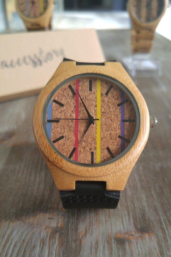 ξύλινο-ρολόι-ρίγες-φελλός