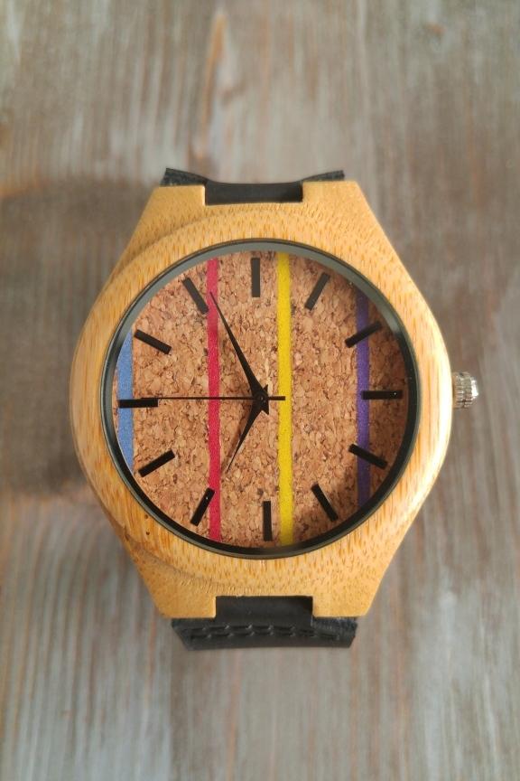 Ξύλινο ρολόι  Stripes  μαύρο λουράκι - Accesstory.gr - Wear your story! 57b0f8b9524