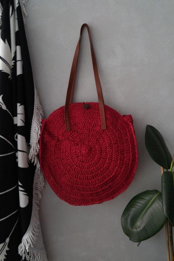 d7cce717e6 Ψάθινη πλεκτή τσάντα  BAHAMAS  κόκκινο χρώμα - Accesstory.gr