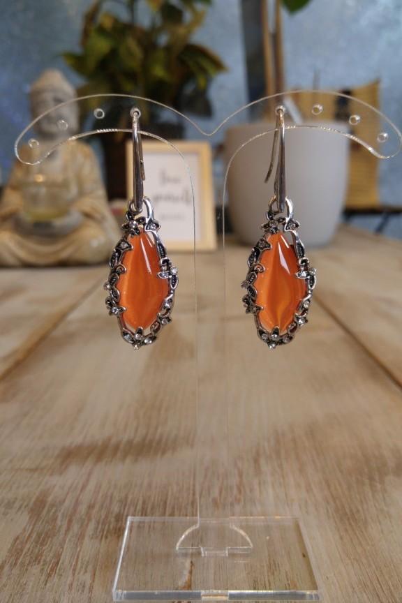 σκουλαρίκια-πέτρα-πορτοκαλί