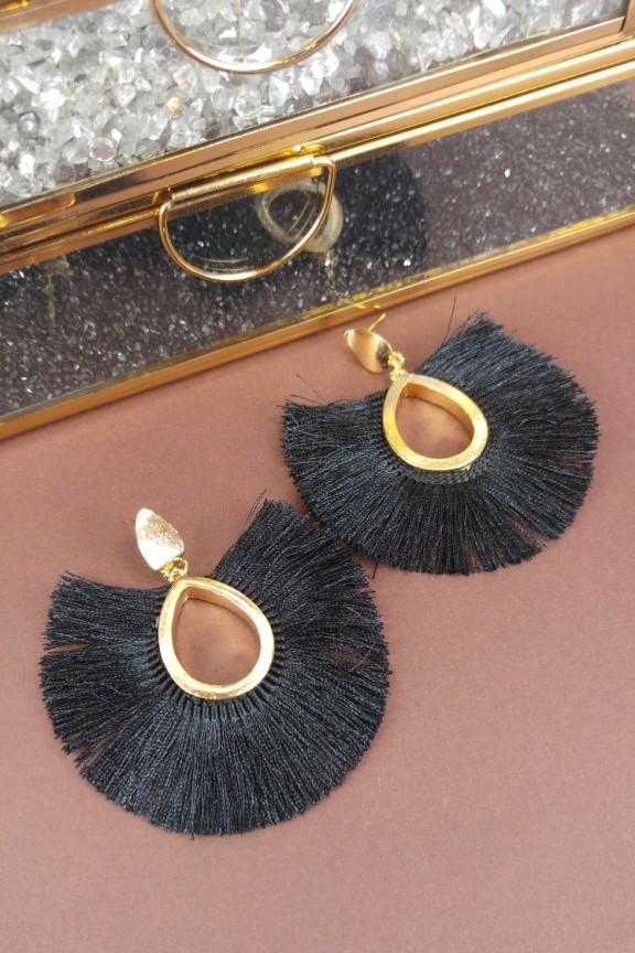 σκουλαρίκια-στρογγυλά-κρόσσια-μαύρα