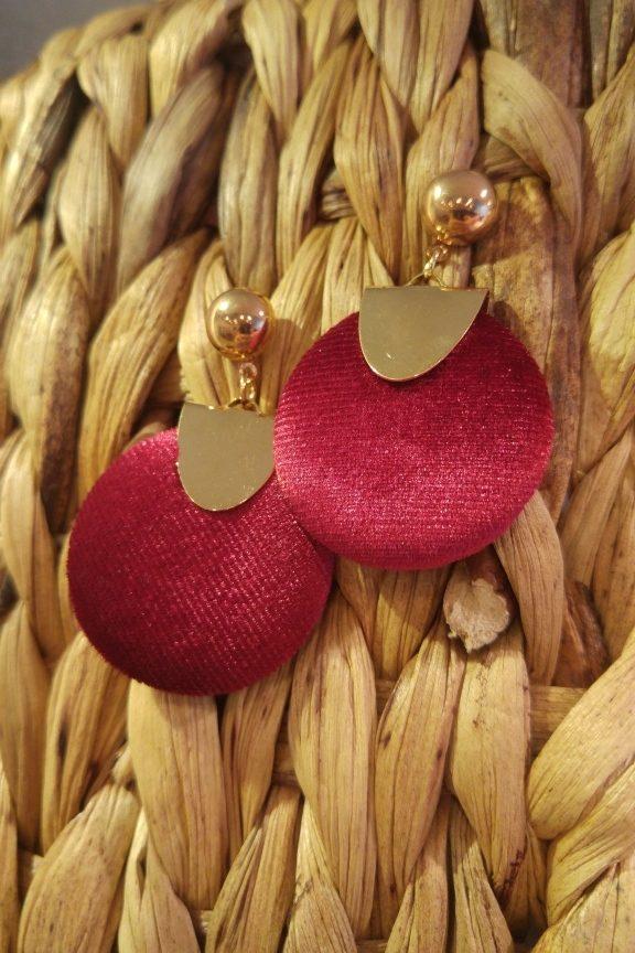 σκουλαρίκια-κυκλικά-βελούδο-κόκκινα