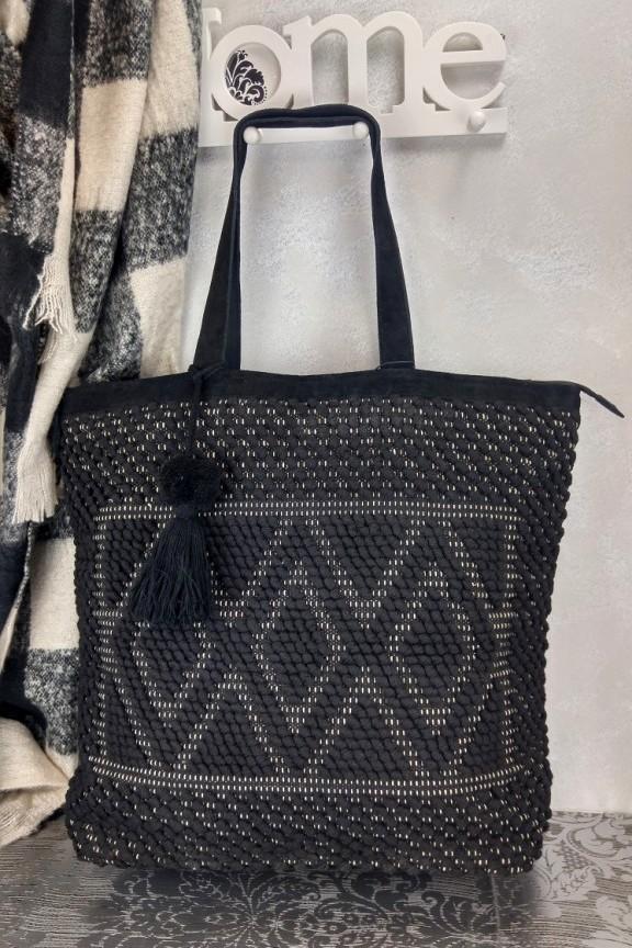 τσάντα-χειροποίητη-πλεκτή-μαύρη