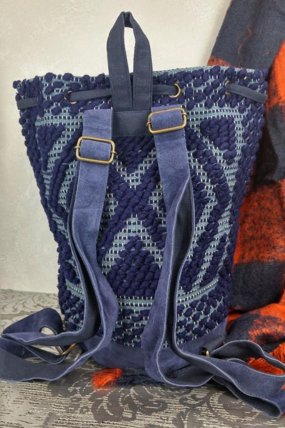 Τσάντα χειροποίητη πλεκτή πλάτης μπλε  India Story  - Accesstory.gr 2f610a45667