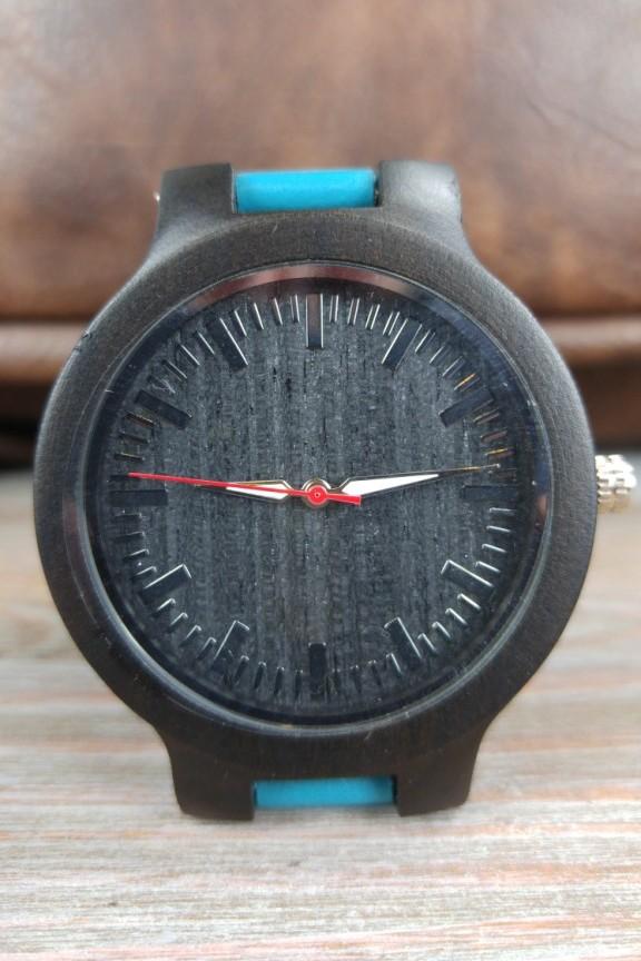 ξύλινο-ρολόι-μαύρο-γαλάζιο-λουράκι