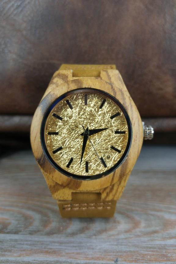 ξύλινο-ρολόι-γυναικείο-χρυσό