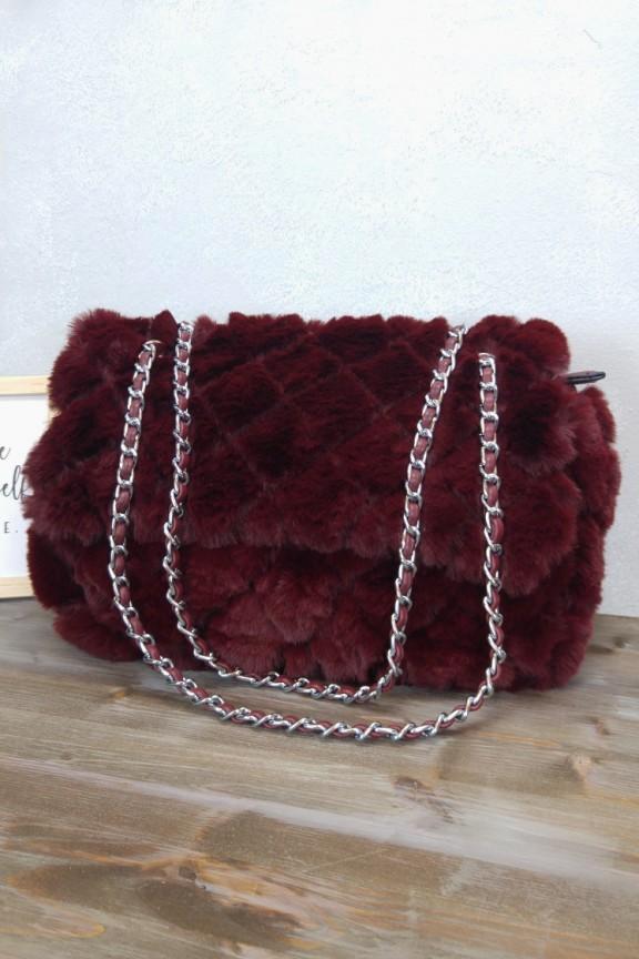 Τσάντα ώμου με γούνα κόκκινη  Chalet  - Accesstory.gr 359320fcae2