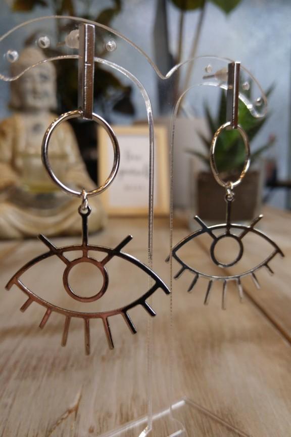 σκουλαρίκια-μάτι-ασημί