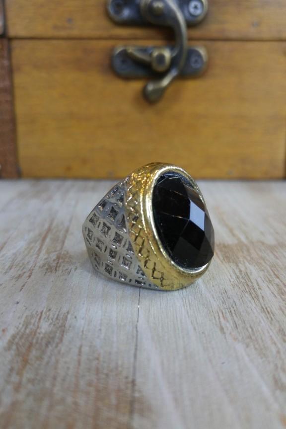 δαχτυλίδι-ατσάλι-μαύρη-πέτρα