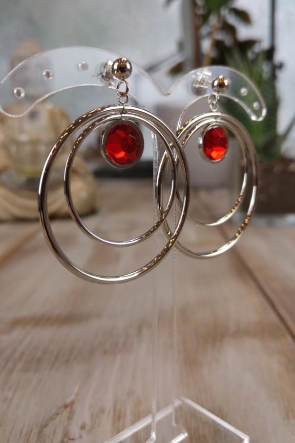 σκουλαρίκια-ατσάλι-κόκκινο