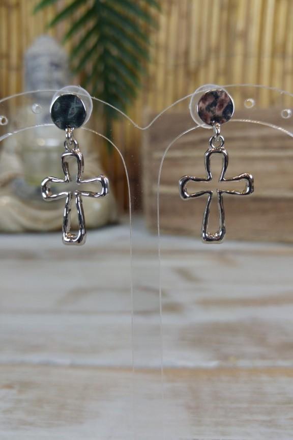 σκουλαρίκια-σταυρός-ασημί