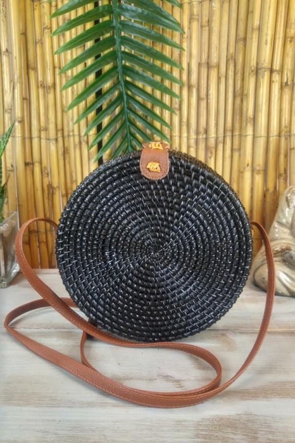 τσάντα-μπαμπού-στρογγυλή-μαύρη-δέρμα
