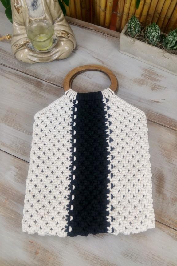 τσάντα-πλεκτή-άσπρο-μαύρο