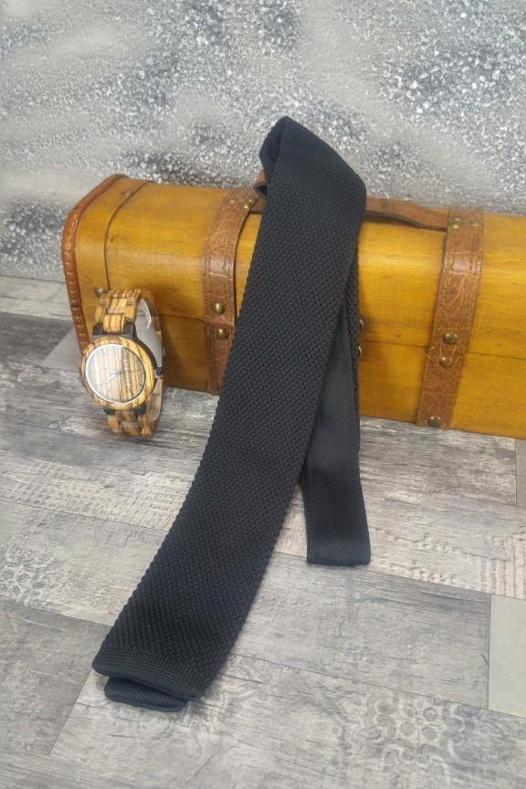 πλεκτή-γραβάτα-μαύρη