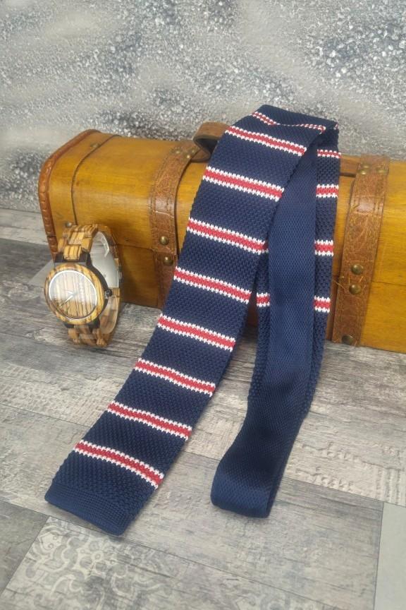 πλεκτή-γραβάτα-ρίγα-μπλε
