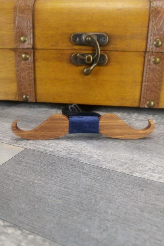 ξύλινο-παπιγιόν-μουστάκι-μπλε