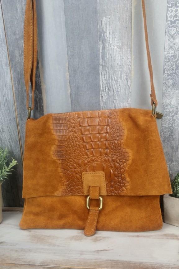 τσάντα-δέρμα-καφέ-κροκόδειλος