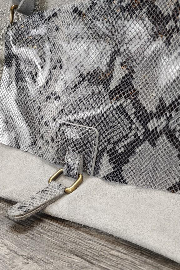 τσάντα-γυναικεία-δερμάτινη-φίδι-γκρι