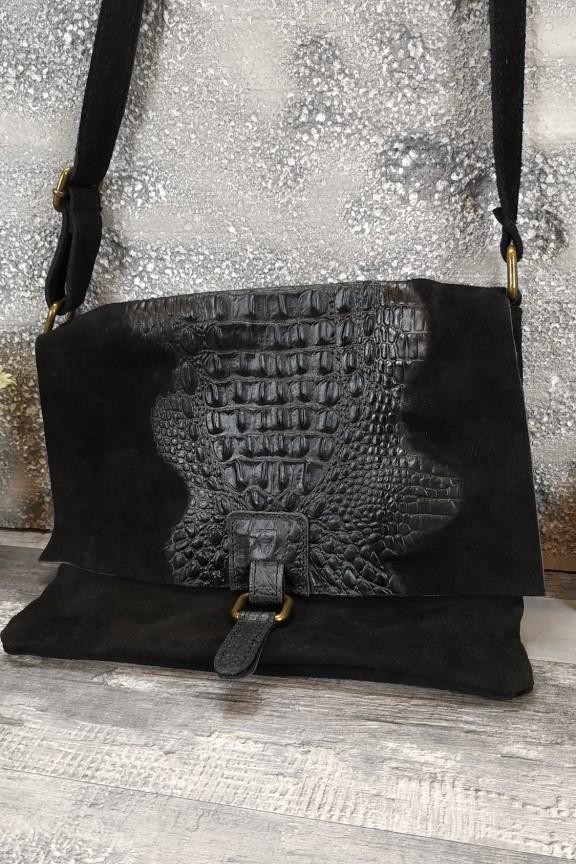 τσάντα-γυναικεία-δερμάτινη-κροκό-μαύρη