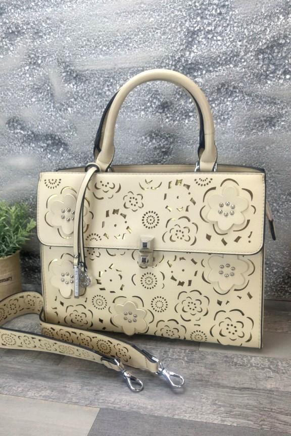 τσάντα-γυναικεία-φλοράλ-μπεζ