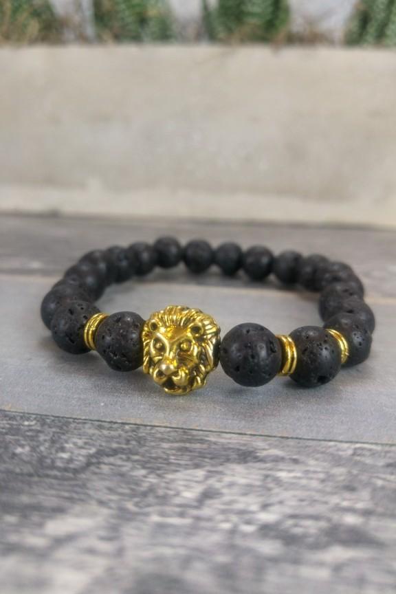 βραχιόλι-πέτρα-λάβας-λιοντάρι-χρυσό
