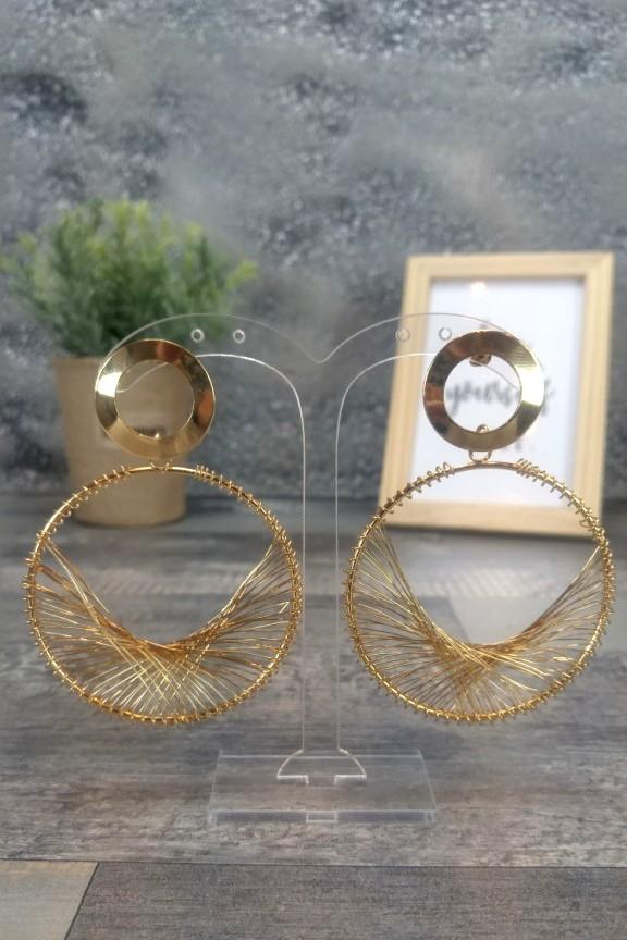 σκουλαρίκια-σύρμα-πλεκτά-χρυσά