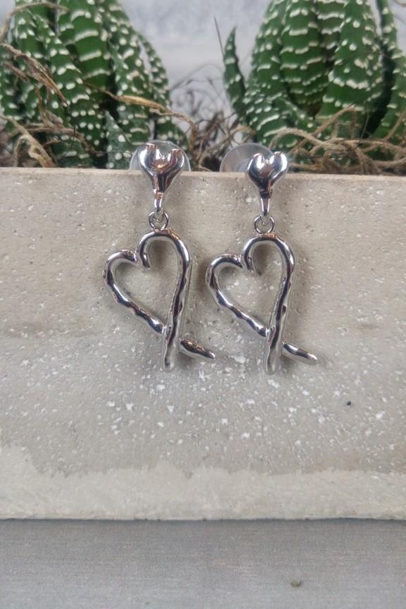 σκουλαρίκια-καρδιά-ασημί