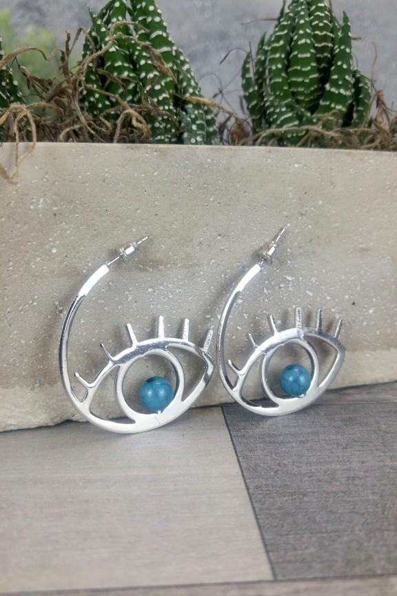 σκουλαρίκια-μάτι-ασημί-πέτρα