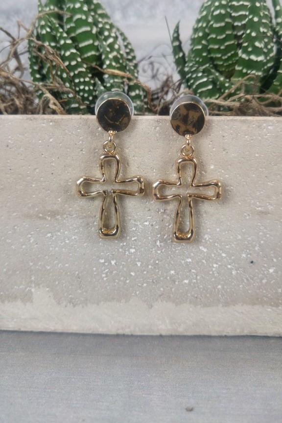 σκουλαρίκια-σταυρός-χρυσό