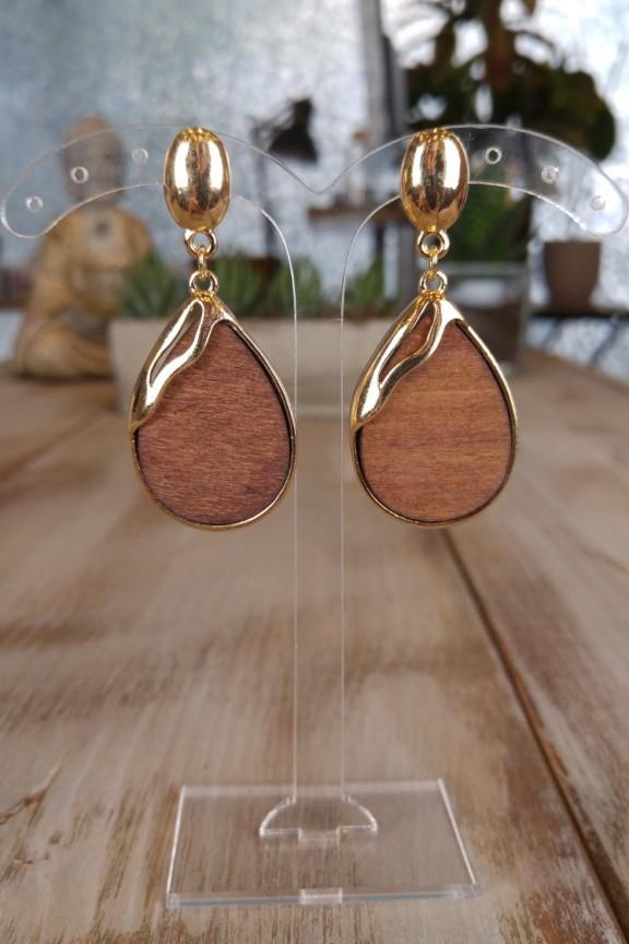 σκουλαρίκια-ξύλινα-χρυσά