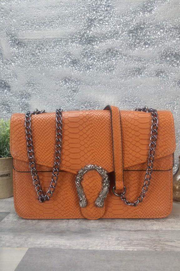 τσάντα-κροκό-πέταλο-κάμελ