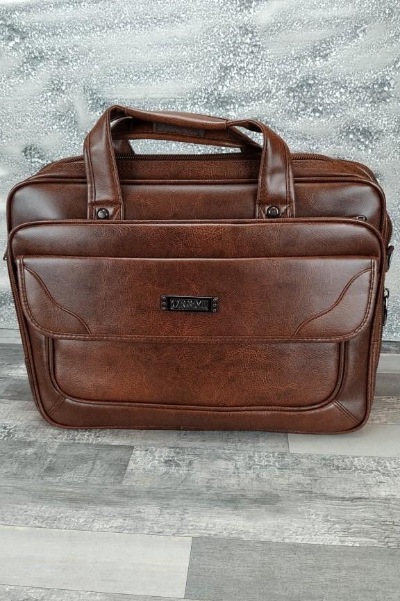 τσάντα-δερματίνης-laptop-καφέ