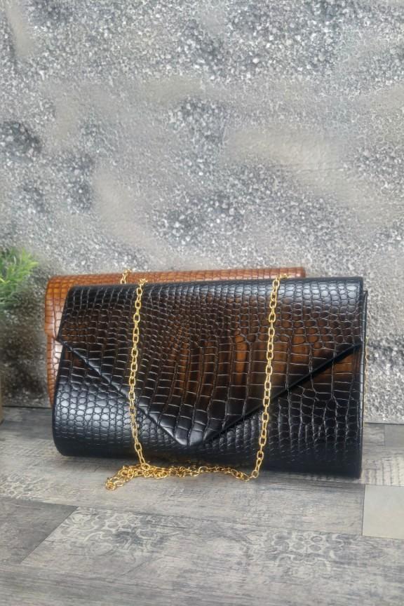 τσάντα-φάκελος-κροκό-μαύρος