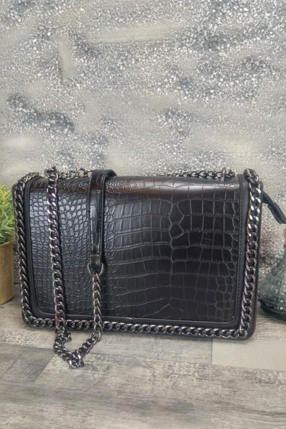τσάντα-κροκό-αλυσίδα-μαύρη