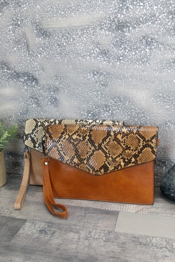 τσάντα-φάκελος-φίδι-ταμπά
