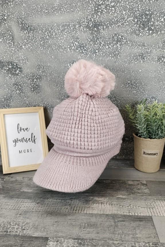 γυναικείο-καπέλο-πλεκτό-φούντα-ροζ