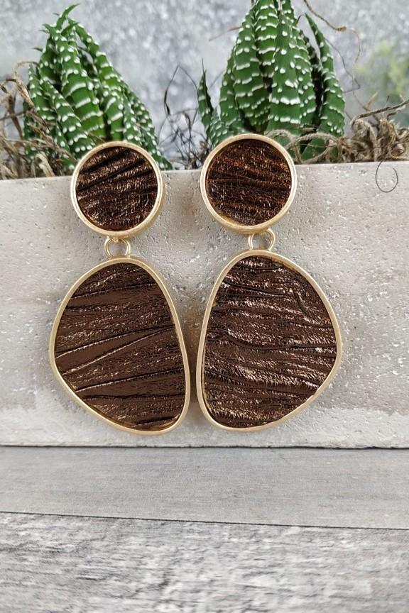 σκουλαρίκια-δέρμα-χρυσά-καφέ
