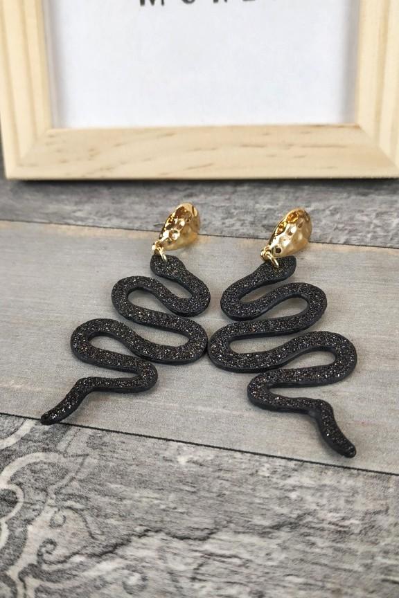 σκουλαρίκια-φίδια-μαύρο-χρυσό