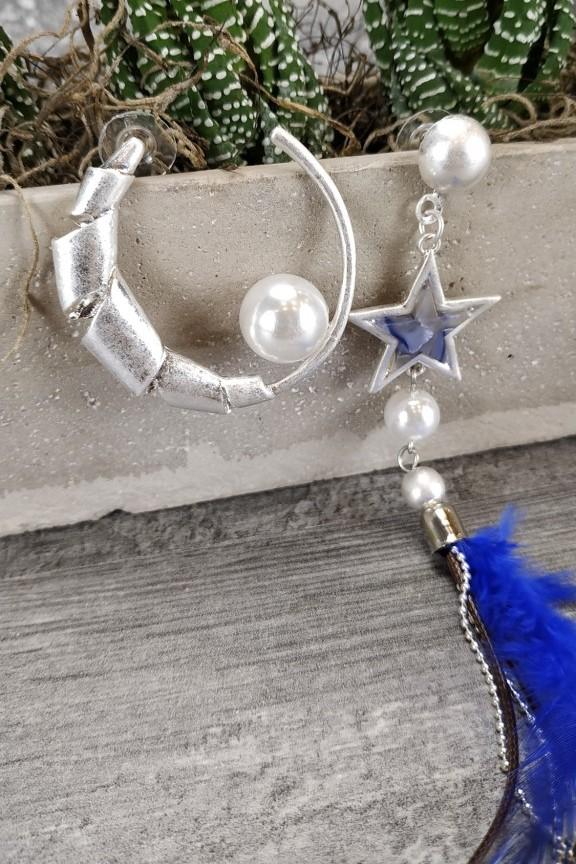 σκουλαρίκι-φτερό-μπλε
