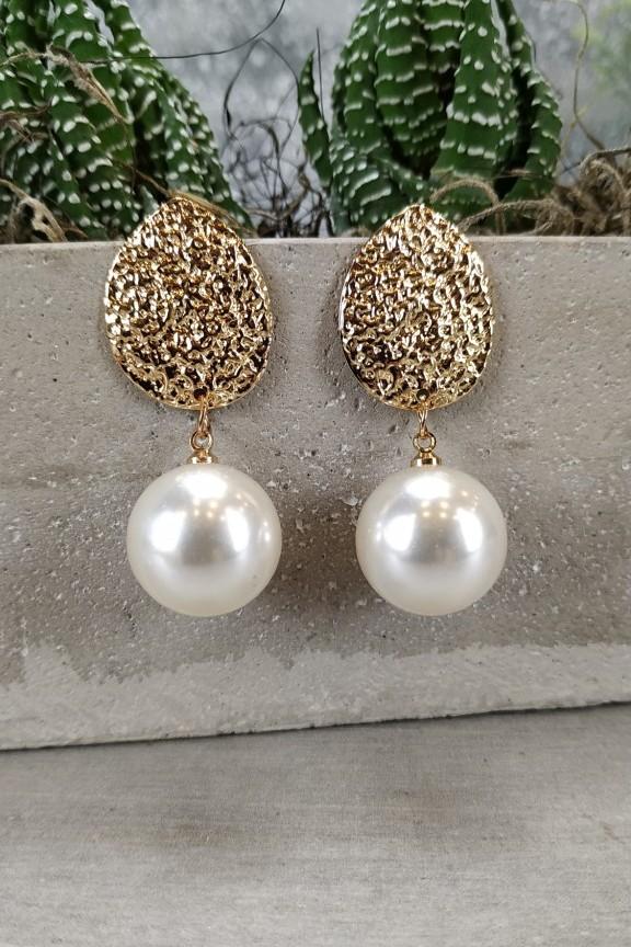 σκουλαρίκια-ανάγλυφα-πέρλες-χρυσά