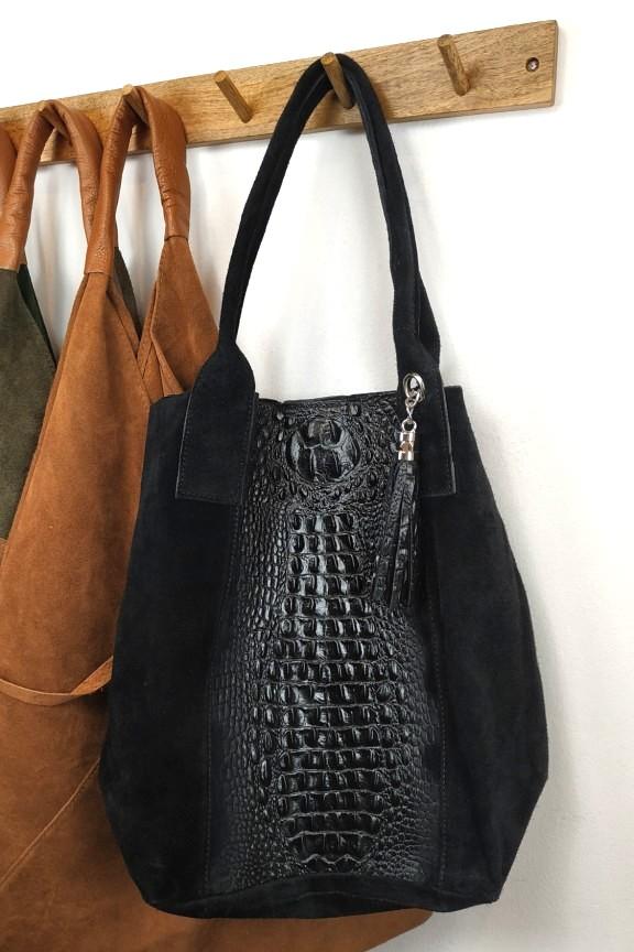 τσάντα-δερμάτινη-σουετ-κροκό-μαύρη