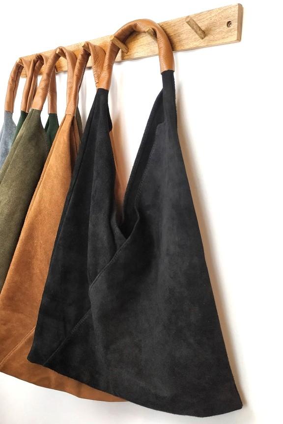 τσάντα-γυναικεία-δερμάτινη-σουέτ-μαύρη