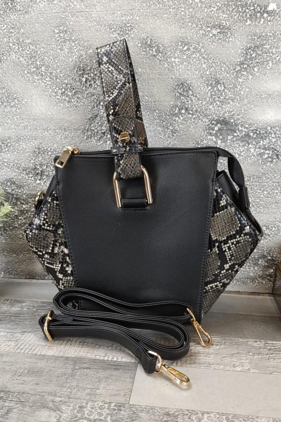 τσάντα-φίδι-πολυγωνική-μαύρη