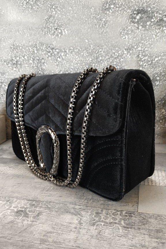 τσάντα-γυναικεία-βελούδο-πέταλο-φίδι-μαύρη