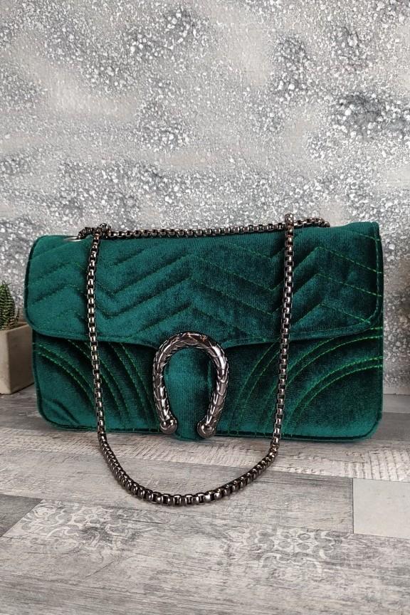 τσάντα-γυναικεία-βελούδο-πέταλο-φίδι-πράσινη