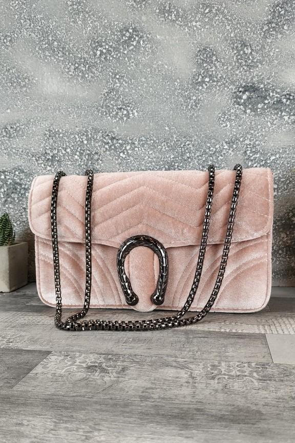 τσάντα-γυναικεία-βελούδο-πέταλο-φίδι-ροζ